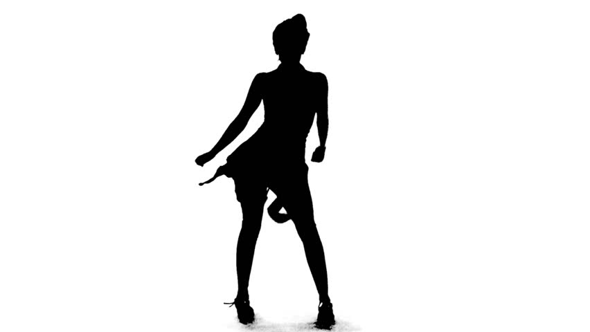 Silhouette of Sexy Salsa Woman Dancing Vector Animation Outline Black and White