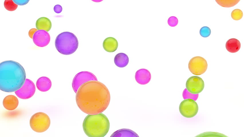 4k video animation of glossy colorful sphere orbs falling and bouncing over the white surface, ULTRA HD 4096x2304