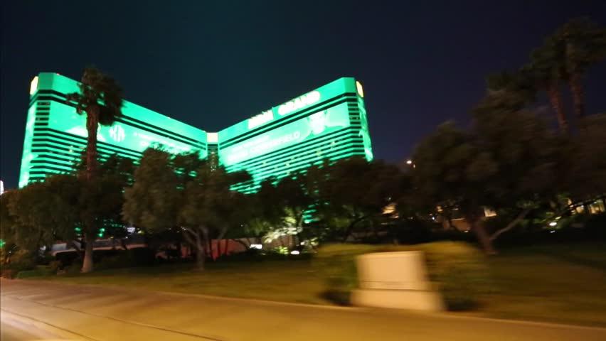 LAS VEGAS,NEVADA - CIRCA April 2012 :driving shot of a glowing mgm hotel