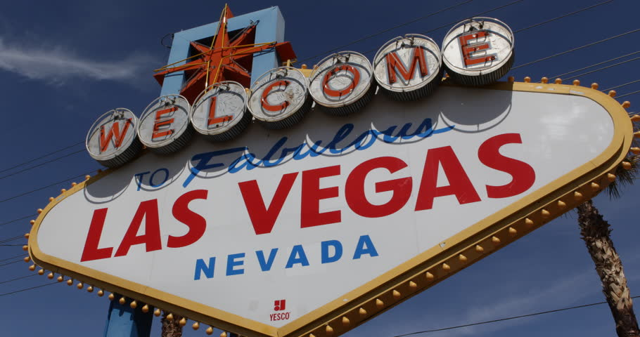Daylight Welcome to Fabulous Las Vegas Sign Strip Rich People Entertainment City ( Ultra High Definition, Ultra HD, UHD, 4K, 2160P, 4096x2160 ) | Shutterstock HD Video #6163520
