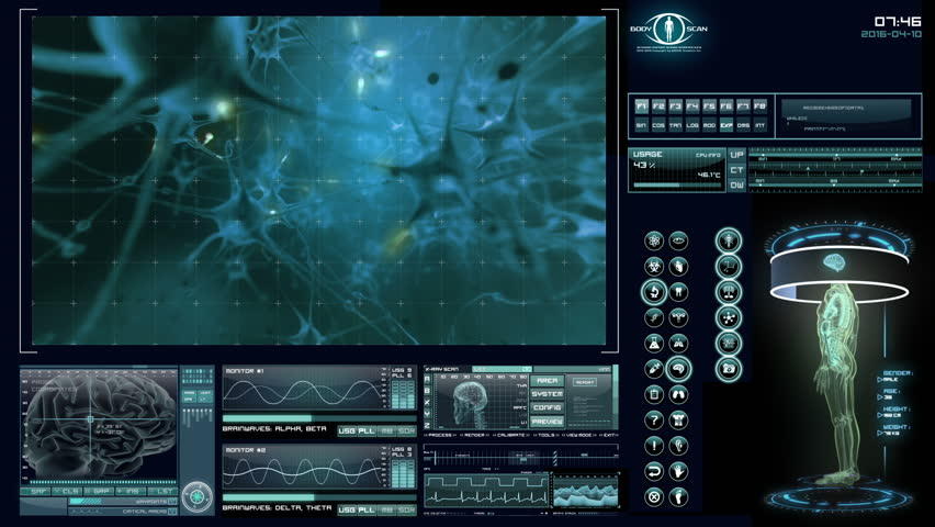 Human neural network visualization. Futuristic medical application interface. Royalty-Free Stock Footage #6179435