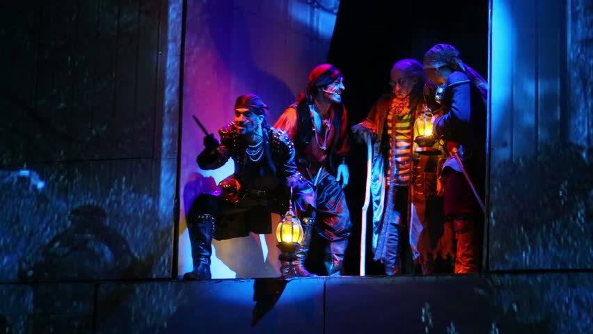 MOSCOW, RUSSIA - DEC 15, 2012: Pirates on stage during musical spectacle for children Treasure Island at Big Concert Hall Izmailovo. #6211982