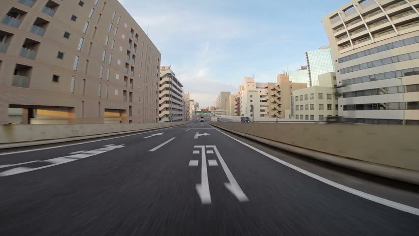 Super wide driver's view from a vehicle in the Tokyo Bay Area highway at sunrise and sunset. | Shutterstock HD Video #6228149