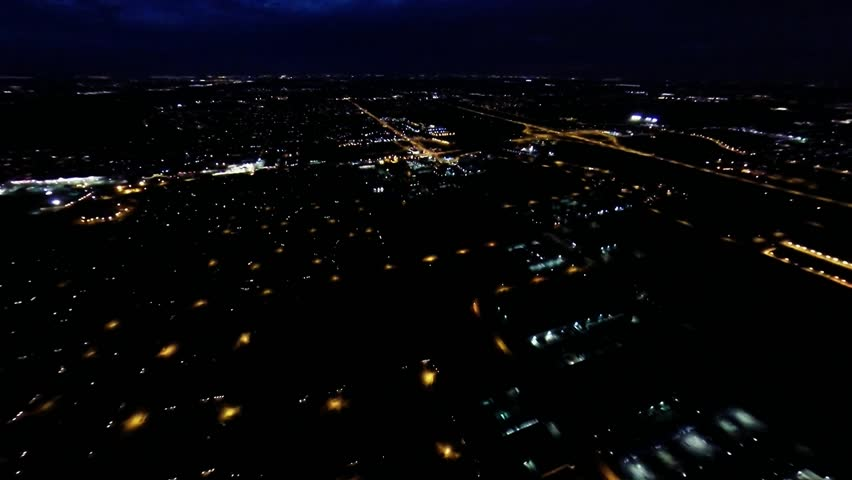 Aerial Night View Of Residential Stock Footage Video 100 Royalty