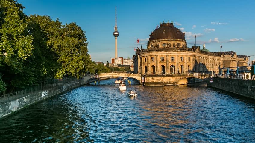 Museum Island on Spree River and Alexanderplatz TV Tower, Timelapse Video, Berlin, Germany | Shutterstock HD Video #6242423