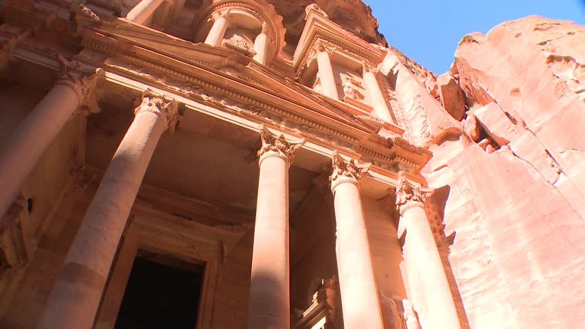 PETRA, JORDAN CIRCA 2013 - Low angle view of the facade of the Treasury building in the ancient Nabatean ruins of Petra, Jordan.