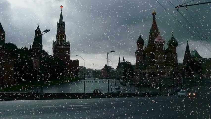 View of Kremlin, snowfall, timelapse   Shutterstock HD Video #625726