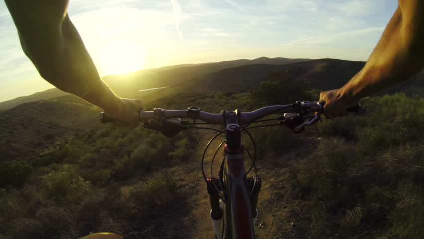POV Extreme Mountain Biking On Dirt Trail