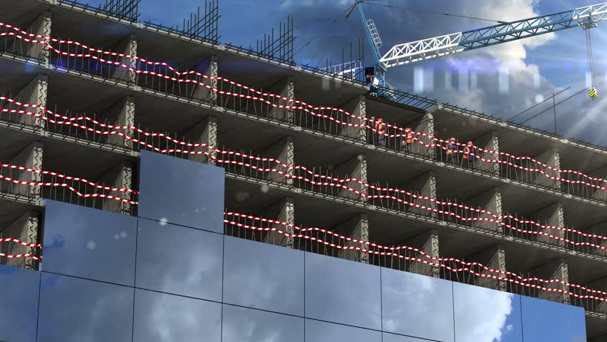 4K Building area. beautiful 3d animation. time-lapse
