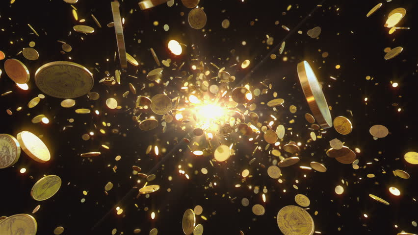 Coins flight. Animation shows the coins flying towards the camera. This one dollar coins is gold. Animation best suitable for all kinds of animated backgrounds on events.