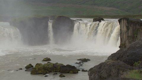 Short pan across spectacular Godafoss waterfall in Iceland