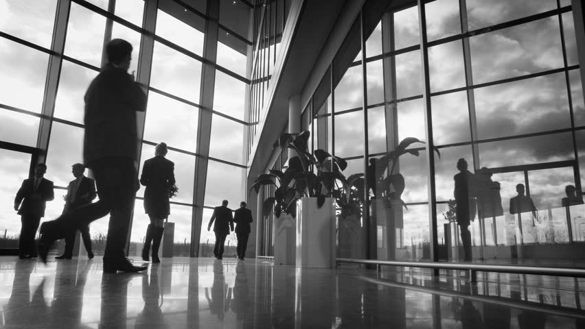 Time lapse of business people and clouds in a light and modern office building | Shutterstock HD Video #6284861