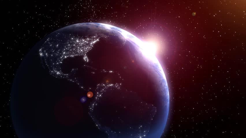 Earth sunrise over the Earth. Zoom into Europe