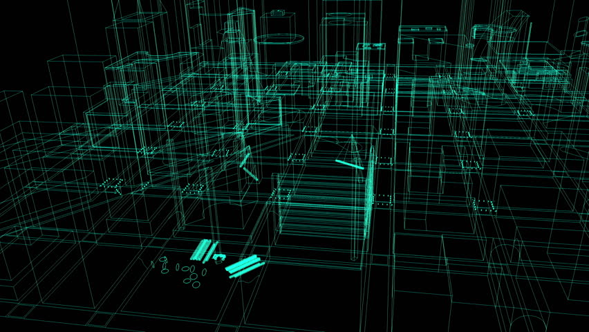 4K Architectural blueprint of contemporary buildings wireframe | Shutterstock HD Video #6293918