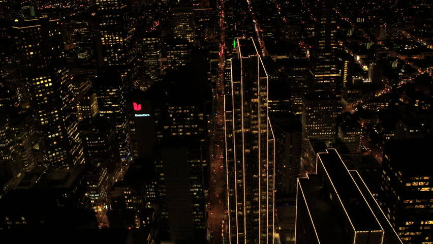 San Francisco - January 2014: Aerial illuminated overhead night view City Skyscrapers, San Francisco, California, USA shot in 4K UHD | Shutterstock HD Video #6313976