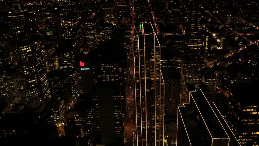 San Francisco - January 2014: Aerial illuminated overhead night view City Skyscrapers, San Francisco, California, USA shot in 4K UHD | Shutterstock HD Video #6313976