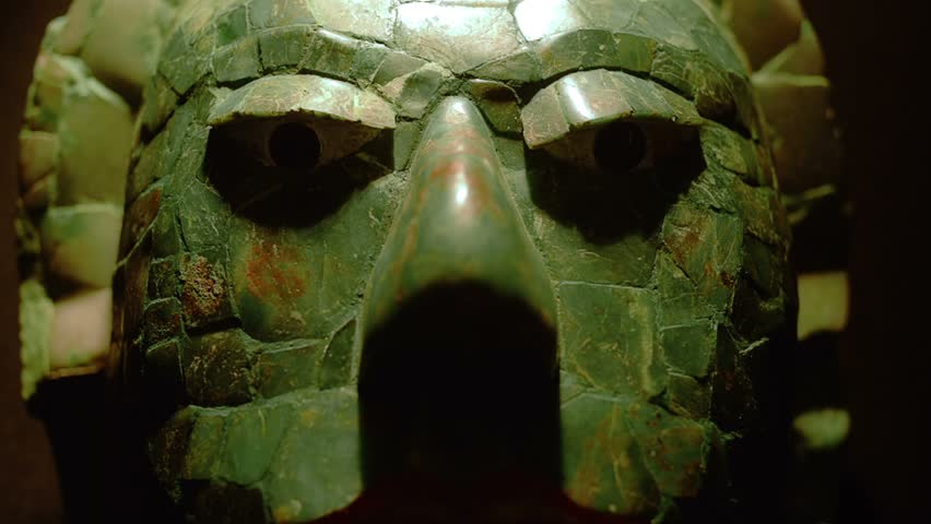 MEXICO CITY, CIRCA JANUARY 2014: Detail of mask made in jade of a mayan warrior in exhibition