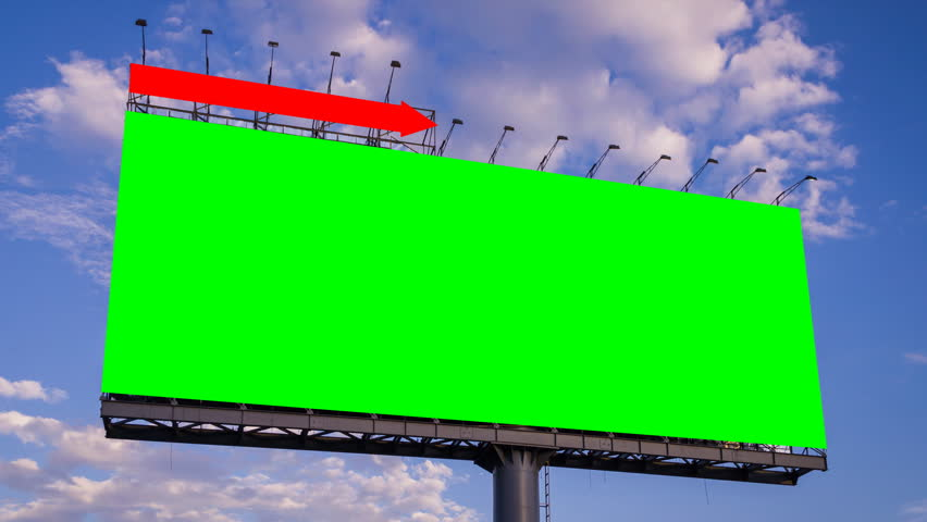 Green screen big billboard and cloud float in sky time lapse | Shutterstock HD Video #6334364