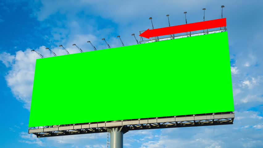 Green screen big billboard and cloud float in sky time lapse | Shutterstock HD Video #6336770