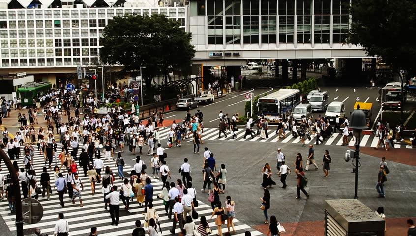 Tokyo - 21 Sep, 2012: Crowds on Shibuya pedestrian crossing  #6353963