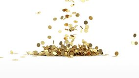 Animation of Falling Golden Coins on white background. HQ Video Clip with Alpha Channel