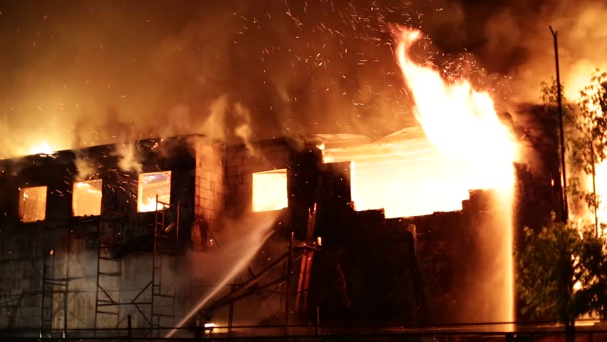 Moscow, Russia – May 20 night fire in construction building, may 20, 2014, Moscow, Russia