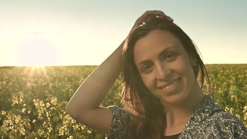 Beautiful Woman Happy Face Sun Glow Flare   Shutterstock HD Video #6379286