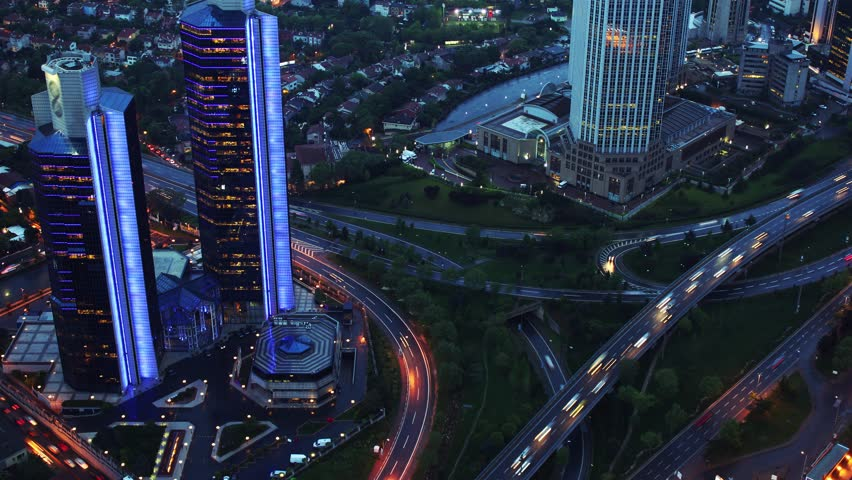 Evening. Automobile traffic on the transport road junction. View from above. Darkens. Timelapse. 4K | Shutterstock HD Video #6381818