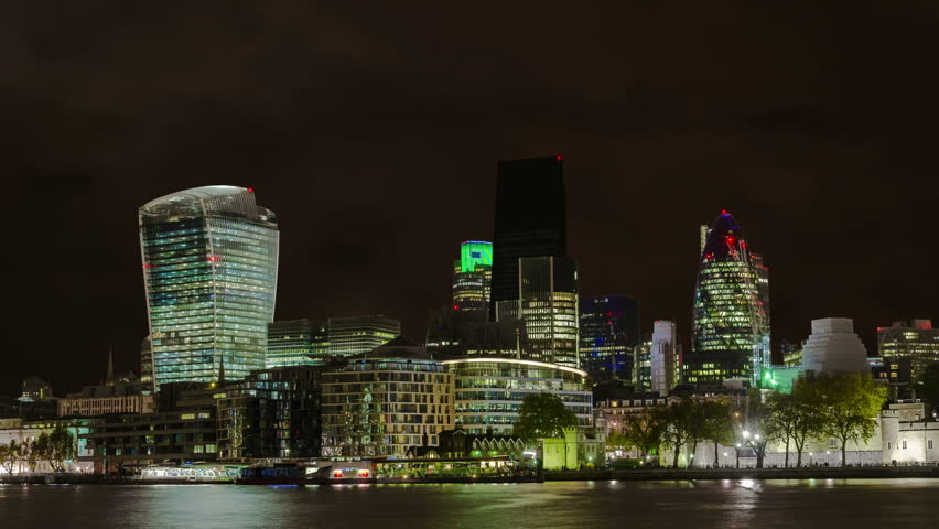 4K Big City Skyscrapers Power Outage-Blackout - City of London, financial district