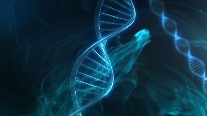 Blue DNA Strand slow motion - 3D Animation loop