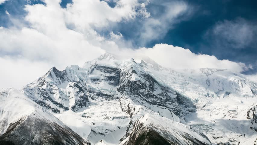 4k Timelapse of Annapurna II mountain, 7,937 m (26,040 ft). Nepal, Himalayas. Annapurna II is a part of Annapurna circuit trek, one of the most popular adventure circuit trek in the world.