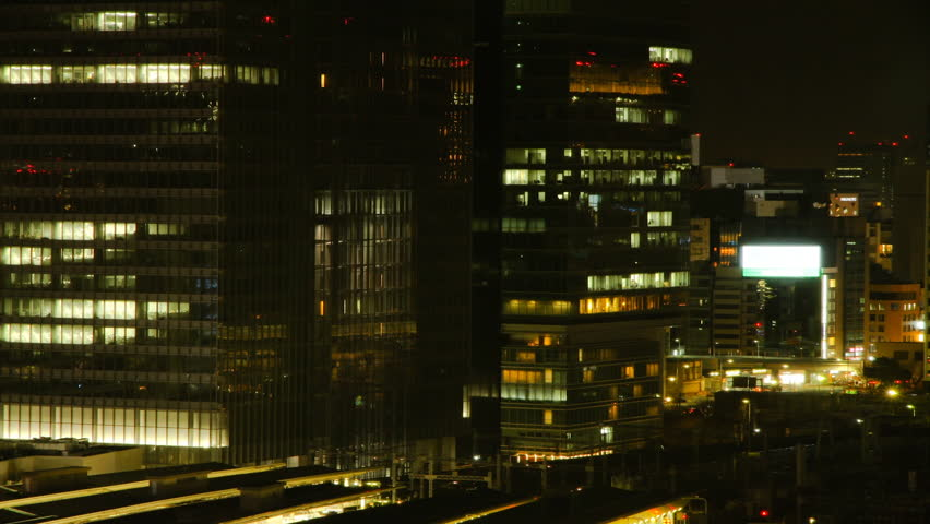 TOKYO - MARCH 14, 2014: Tokyo elevators at night timelapse. Tokyo is Japan's management and finance center. | Shutterstock HD Video #6435428