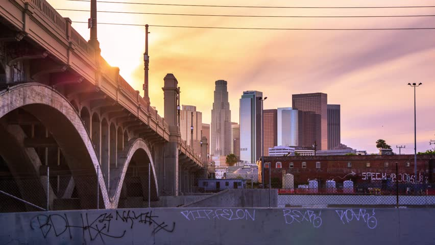 4K. Los Angeles city. Sunset over downtown LA skyline. Timelapse in motion (hyperlapse).
