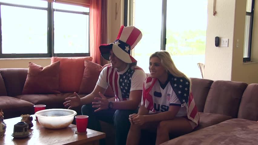 Group of happy USA soccer fans. Goal Celebration | Shutterstock HD Video #6449147