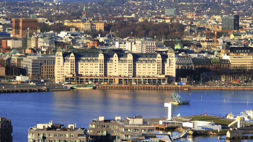 Harbour area in Oslo, Norway. Filmed in 4k in January 2014.