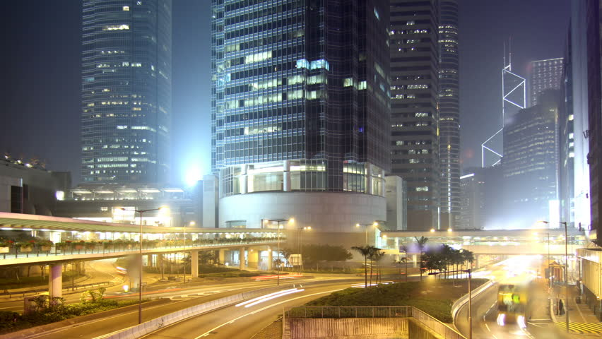 Cityscape timelapse at night. Hong Kong. Busy traffic across the main road at rush hour. | Shutterstock HD Video #649774
