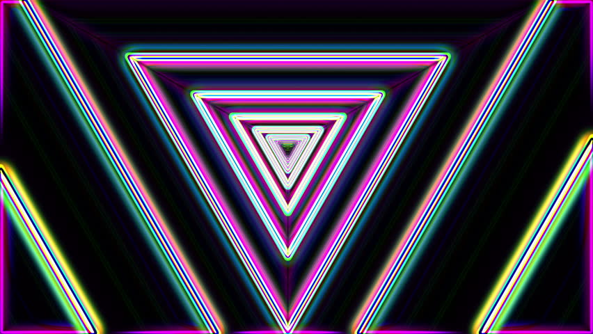 Neon lights vintage triangles tunnel loop - 1080p Use for backgrounds, transition and texture | Shutterstock HD Video #6510281