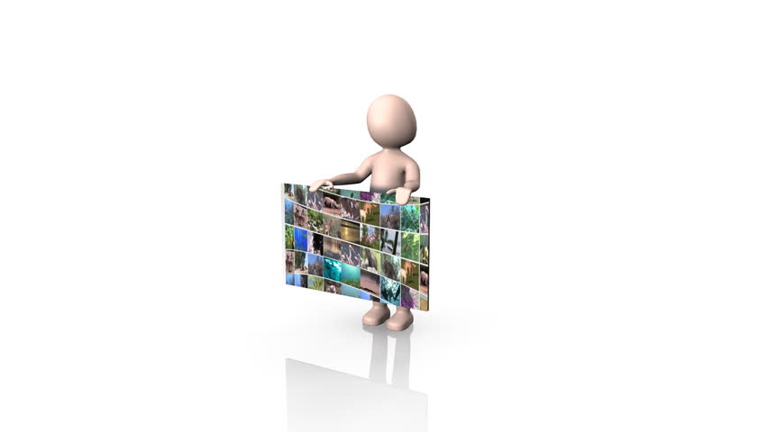 3d Man Holding a collage of Wildlife footage | Shutterstock HD Video #652021