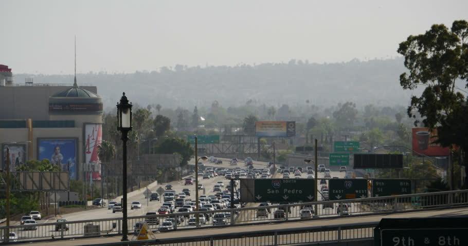 Freeway Traffic 41 Los Angeles Downtown | Shutterstock HD Video #6535631
