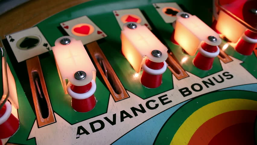 Pinball Machine Action - Bumper hits, flippers, targets