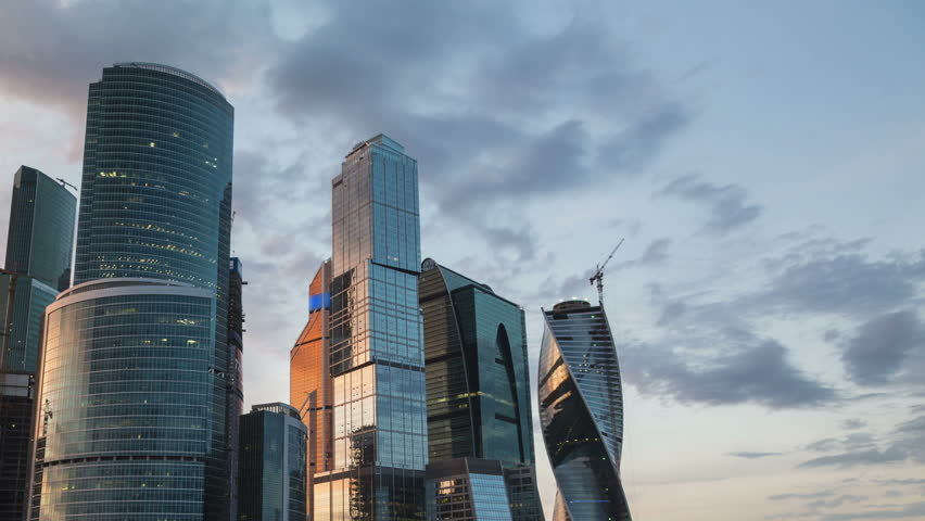 (Time lapse) Moscow International Business Center so-called Moscow-City skyscrapers, consist of business, residential and lifestyle clusters, on June 8, 2014 in Moscow, Russia.  | Shutterstock HD Video #6538301