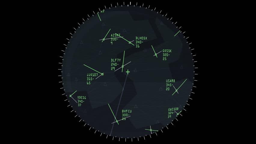 A fictional air traffic controller radar sweep screen.
