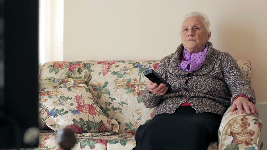 Senior Woman Is Watching Tv Stock Footage Video 100 Royalty Free
