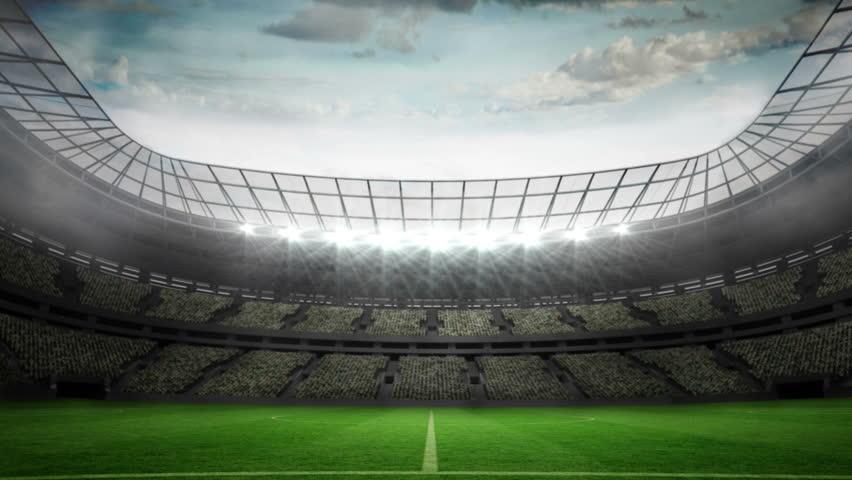 Digital animation of lights flashing in large football stadium
