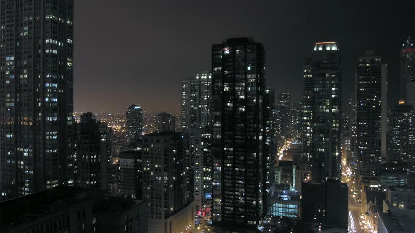 Urban downtown night time-lapse
