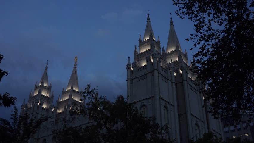 SALT LAKE CITY, UTAH - JUNE 2014: Salt Lake City LDS Mormon Temple night. The Church of Jesus Christ of Latter-day Saints (LDS Church) at Temple Square. 253,015 square feet. Dedicated in 1893.   Shutterstock HD Video #6571553