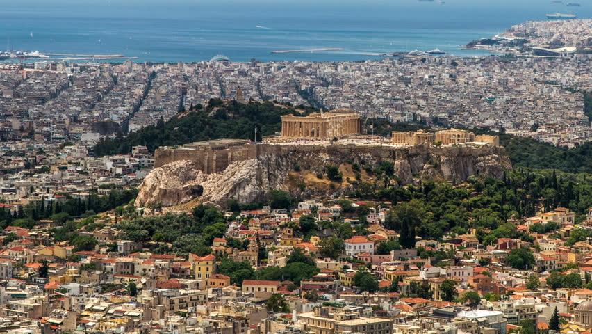 Acropolis Parthenon, Athens, Greece,Tilt-UP , Timelapse - 1920X1080