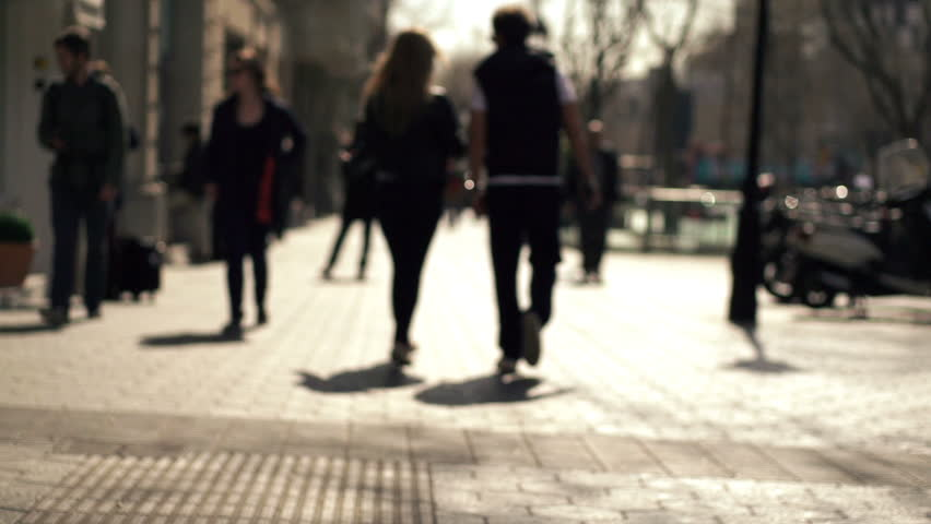 Silhouette of people walking in the city, super slow motion, shot at 240fps    Shutterstock HD Video #6583994