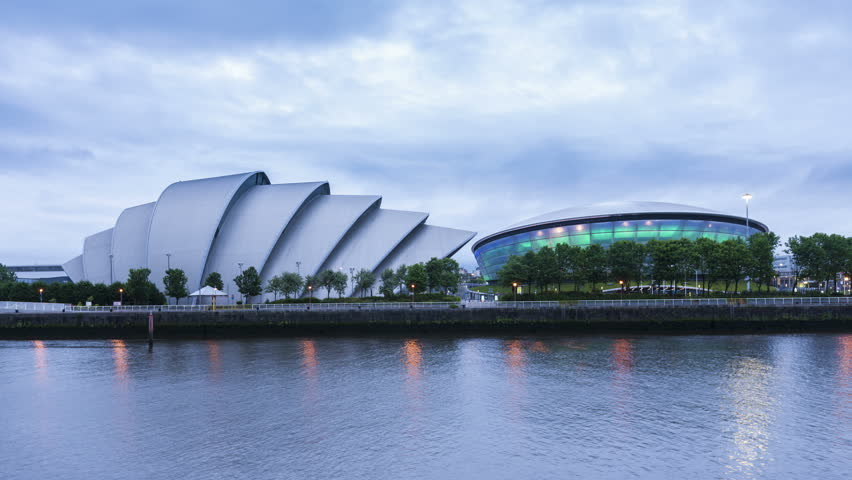 GLASGOW, SCOTLAND - JUNE 05, 2014: 4K Time lapse of The Armadillo Clyde Auditorium and The Hydro at dusk. The Hydro was opened in 2013 and is the newest of the Clyde buildings.