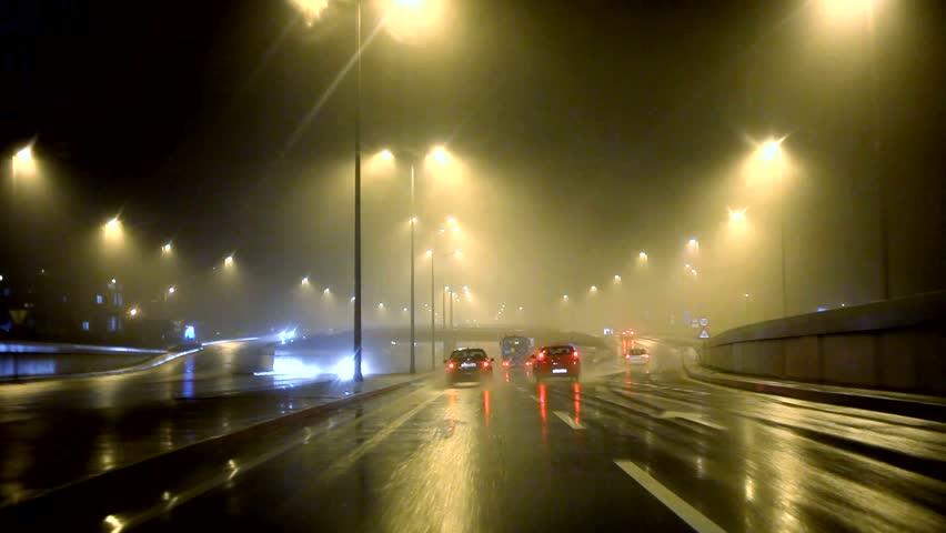 Car driving by rain 30sec